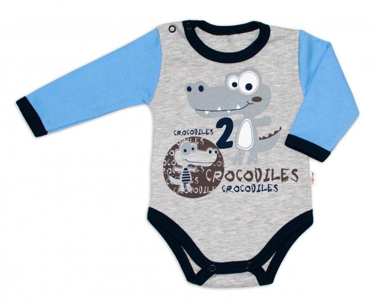 Baby Nellys Bavlněné kojenecké body, dl. rukáv, Crocodiles - šedo/modré, vel. 74