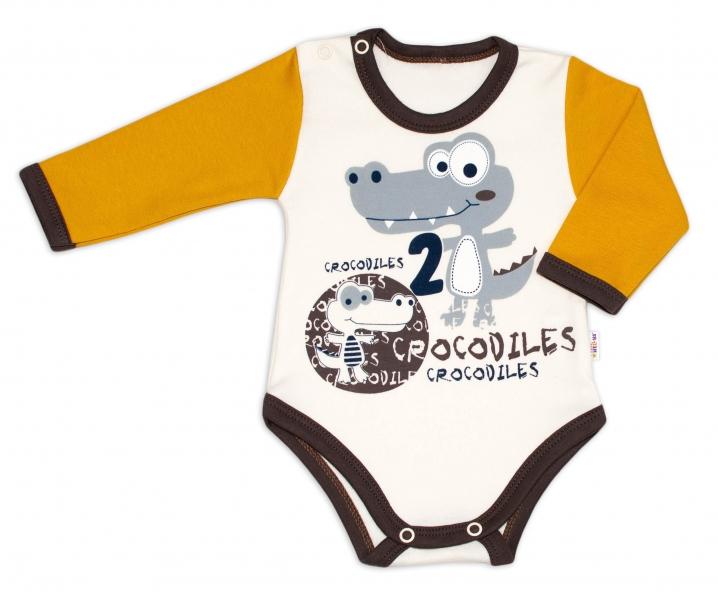 Baby Nellys Bavlněné kojenecké body, dl. rukáv, Crocodiles - smetanovo/hořčicová