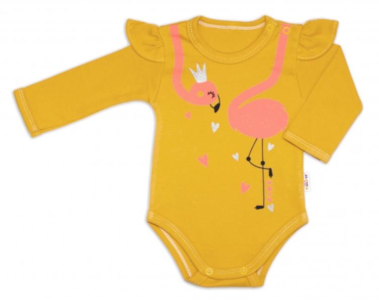 Baby Nellys Bavlněné kojenecké body, dl. rukáv, Flamingo s volánkem - hořčicové, vel. 62