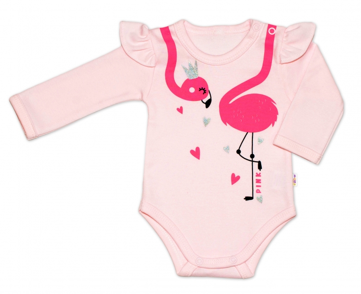 Baby Nellys Bavlněné kojenecké body, dl. rukáv, Flamingo s volánkem - růžové, vel. 74