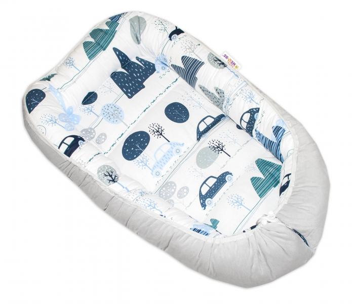 Oboustranné hnízdečko Baby Nellys Velvet, 55x75cm - Auta v aleji - šedý velvet/auta modrá