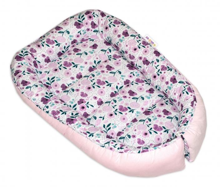 Oboustranné hnízdečko Baby Nellys Velvet, 55x75cm, Luční kvítky - růžový velvet