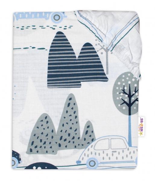 Baby Nellys Dětské bavlněné prostěradlo do postýlky - Auta v aleji, modrá, roz. 140x70 cm