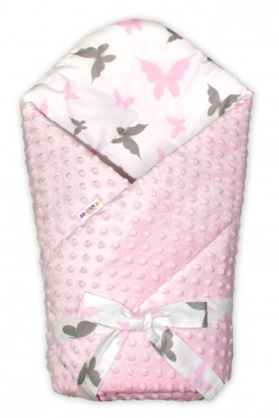 Baby Nellys  Oboustranná rychlozavinovačka 75x75cm s minky Motýlci se stuhou - sv. růžová