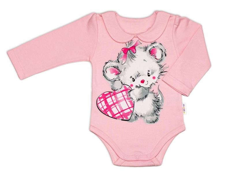 Baby Nellys Bavlněné kojenecké body, dl. rukáv, Mouse Love - růžové, vel. 68