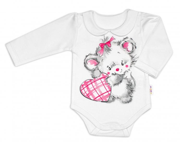 Baby Nellys Bavlněné kojenecké body, dl. rukáv, Mouse Love - bílé, vel. 68