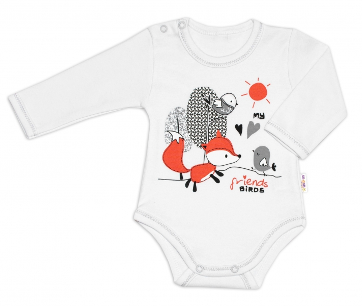 Baby Nellys Bavlněné kojenecké body, dl. rukáv, Fox - bílé, vel. 74