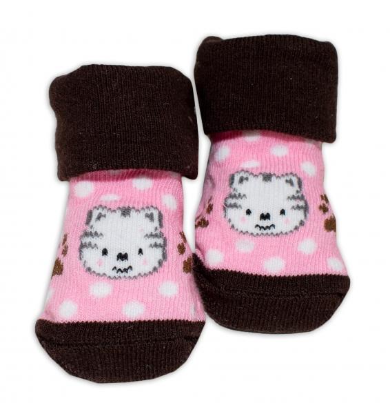 Kojenecké ponožky, 0 - 6 měsíců, Bobo Baby - Kočička, růžová