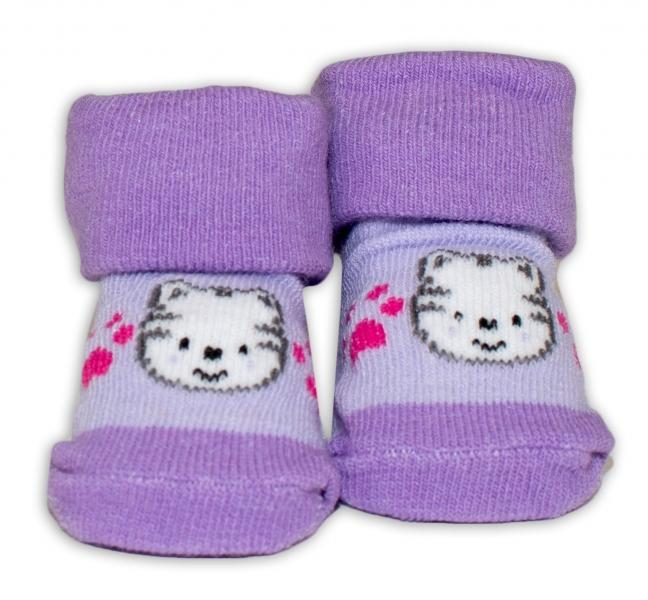 Kojenecké ponožky, 0 - 6 měsíců, Bobo Baby - Kočička, fialová