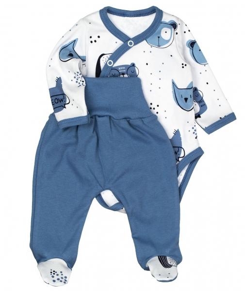 MBaby 2-dílná kojenecká sada ANIMAL, modrá-bílá