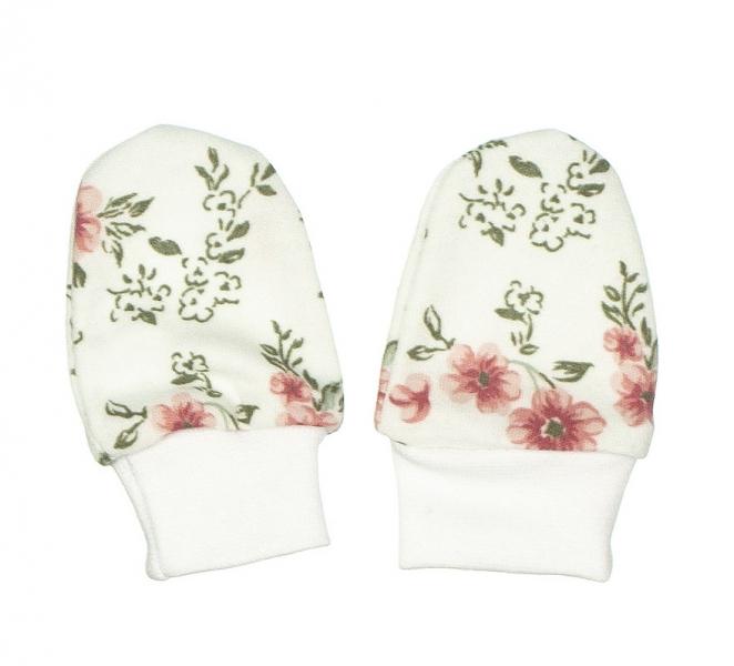MBaby Kojenecké rukavičky ROSE, pudrová-bílá