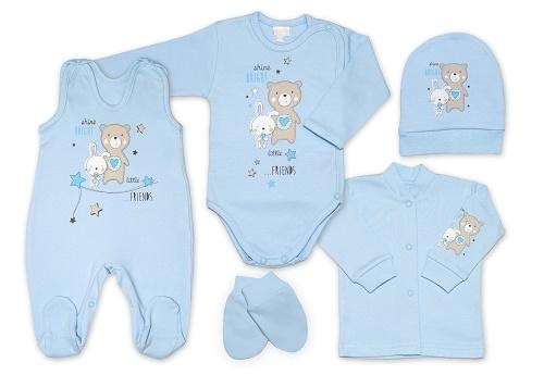 G-baby 5-ti dílná bavlněná soupravička do porodnice Little friends - modrá, vel. 62