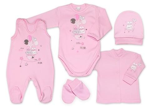 G-baby 5-ti dílná bavlněná soupravička do porodnice Little friends - růžová