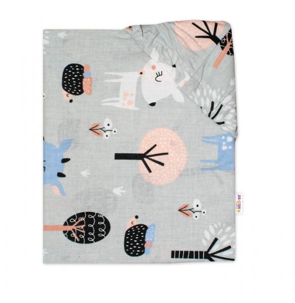 Baby Nellys Bavlněné prostěradlo 60 x 120 - Srnečci, šedé