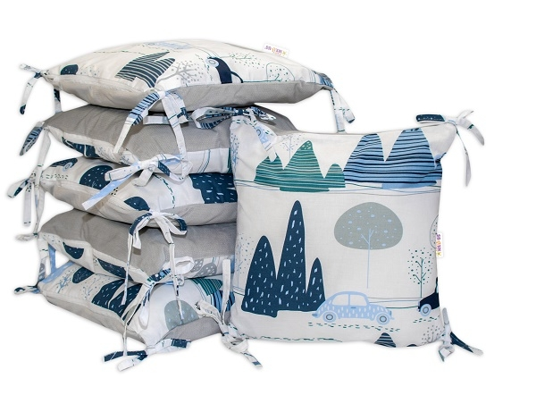 Polštářkový mantinel Baby Nellys - Auta v aleji - velvet + bavlna, šedo/modrá