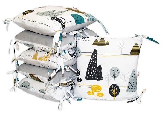 Polštářkový mantinel Baby Nellys - Auta v aleji - velvet + bavlna, šedá/zelená