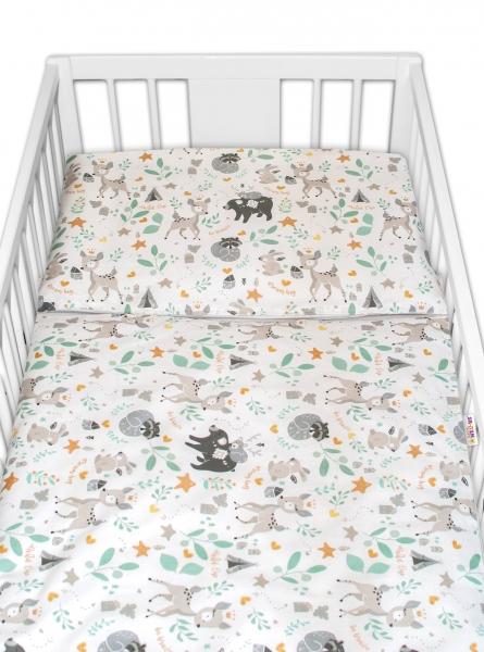2-dílné bavlněné povlečení Baby Nellys - Wild animals, šedá