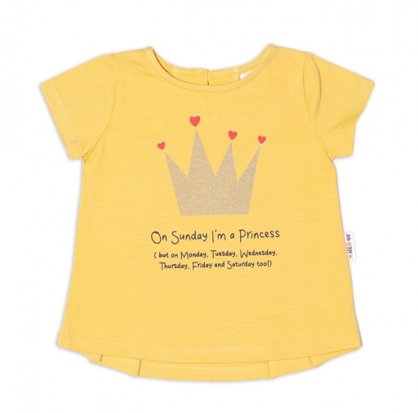 K-Baby Dětské bavlněné triko, krátký rukáv - Princess - hořčicové