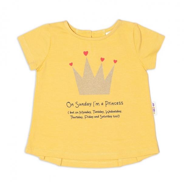 K-Baby Dětské bavlněné triko, krátký rukáv - Princess - hořčicové, vel. 68