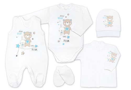 G-baby 5-ti dílná bavlněná soupravička do porodnice Little friends - bílo/modrá, vel. 62