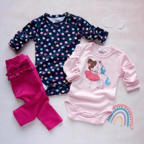 K-Baby 3 dílná sada - 2x body dlouhý rukáv, tepláčky - Baletka růžová, vel. 80