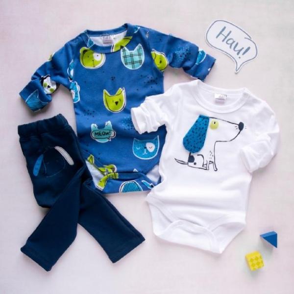 K-Baby 3 dílná sada - 2x body dlouhý rukáv, tepláčky - Psík, modrá, bílá, vel. 68