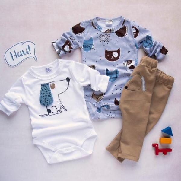 K-Baby 3 dílná sada - 2x body dlouhý rukáv, tepláčky - Psík, modrá, bílá, béžová