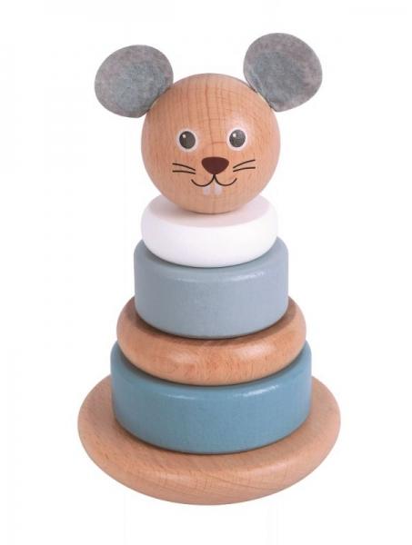 Lelin Dřevěná balanční věž, pyramida Myš - šedá/bílá