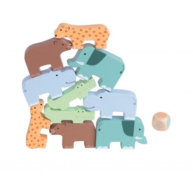 Lelin Dřevěná skládací hra - zvířátka, 10ks + hrací kostka