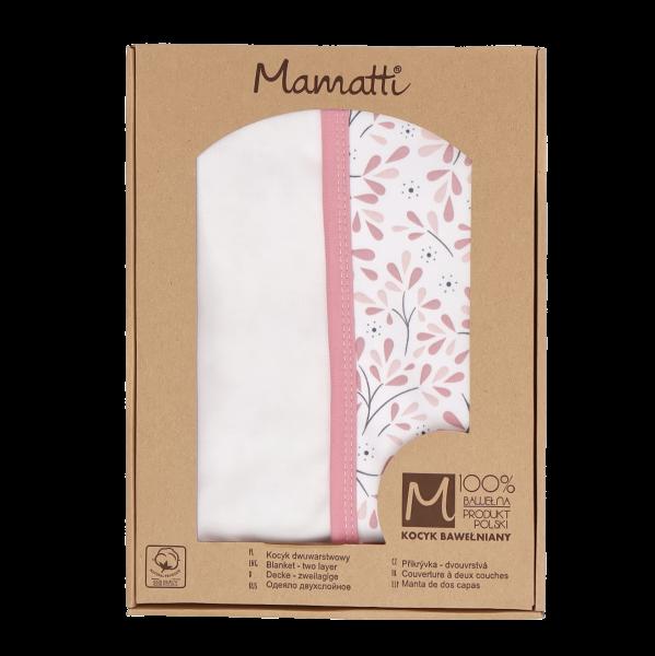 Mamatti Dětská oboustranná bavl. deka,Tokio - 80 x 90 cm, v dárkové krabičce, růžovo-bílá