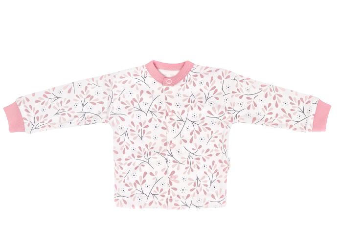 Mamatti Novozenecká bavlněná košilka, kabátek Tokio - růžovo,bílá, vel. 62, Velikost: 62 (2-3m)