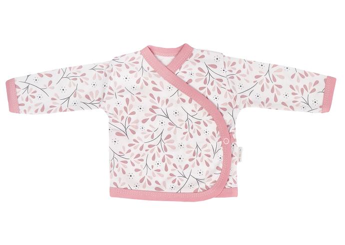 Mamatti Novozenecká bavlněná košilka zapínání bokem, Tokio - růžovo,bílá, vel. 62, Velikost: 62 (2-3m)