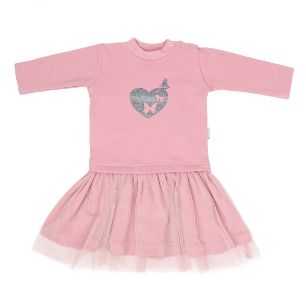 Mamatti Dětské šaty s týlem Tokio, růžové, vel. 86