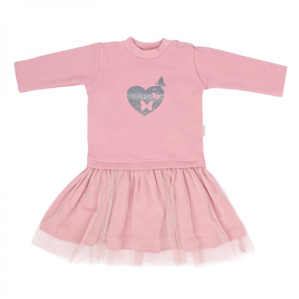 Mamatti Dětské šaty s týlem Tokio, růžové, vel. 92