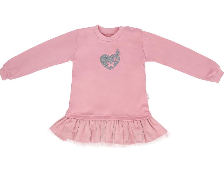 Mamatti Dětské tričko,tunika s týlem Tokio, růžové, vel. 86