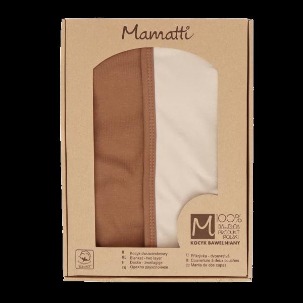 Mamatti Dětská oboustranná bavl. deka,Lion - 80 x 90 cm, v dárkové krabičce, béžovo-hnědá