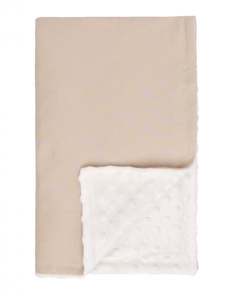 Mamatti Dětská oboustranná bavlněná deka s minky,Lion - 75 x 90 cm, béžovo-bílá