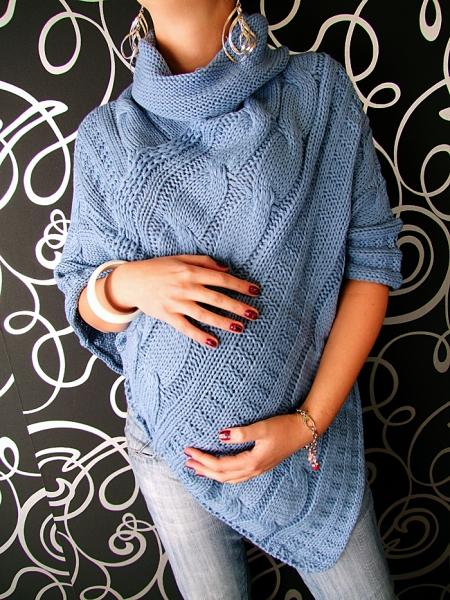 Pletené pončo - světle modrá/jeans