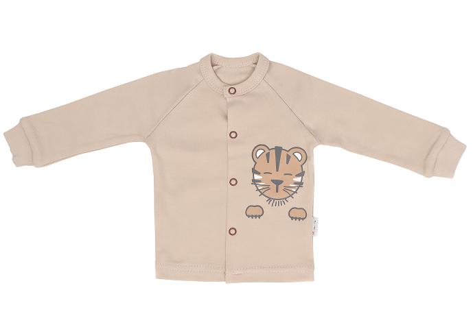 Mamatti Novozenecká bavlněná košilka, kabátek Lion - béžová, vel. 62, Velikost: 62 (2-3m)