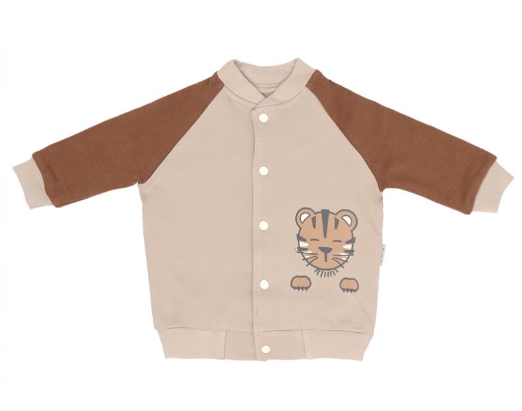 Mamatti Bavlněná dětská mikina Lion, béžovo-hnědá, vel. 86, Velikost: 86 (12-18m)