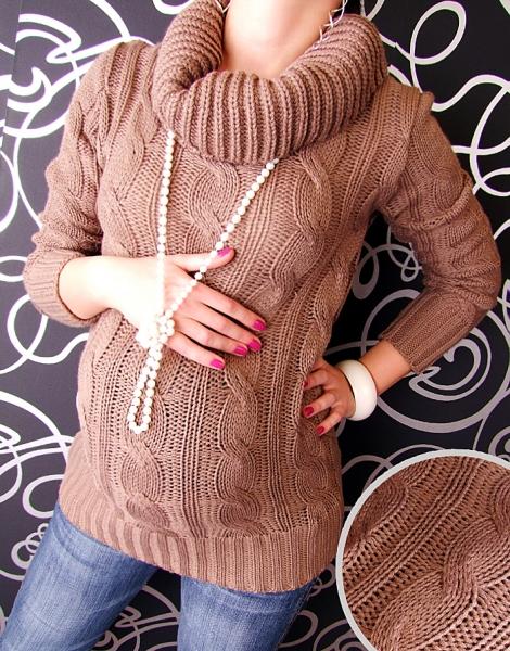 Těhotenský svetřík s rolákem - kakao