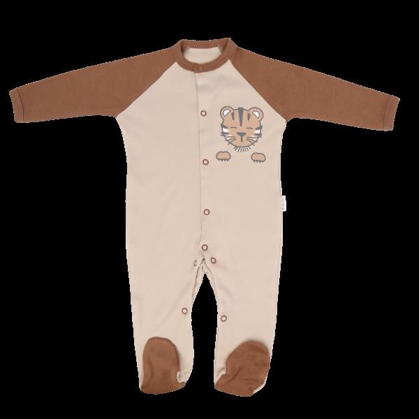 Mamatti Kojenecký bavlněný overálek Lion, béžovo-hnědý, vel. 56, Velikost: 56 (1-2m)
