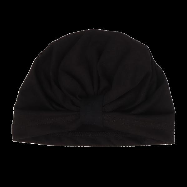 Mamatti Bavlněná  dětská čepice - turban, Mašle - černá