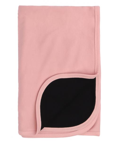 Mamatti Dětská oboustranná bavlněná deka, Mašle - 80 x 90 cm, černá-pudrová