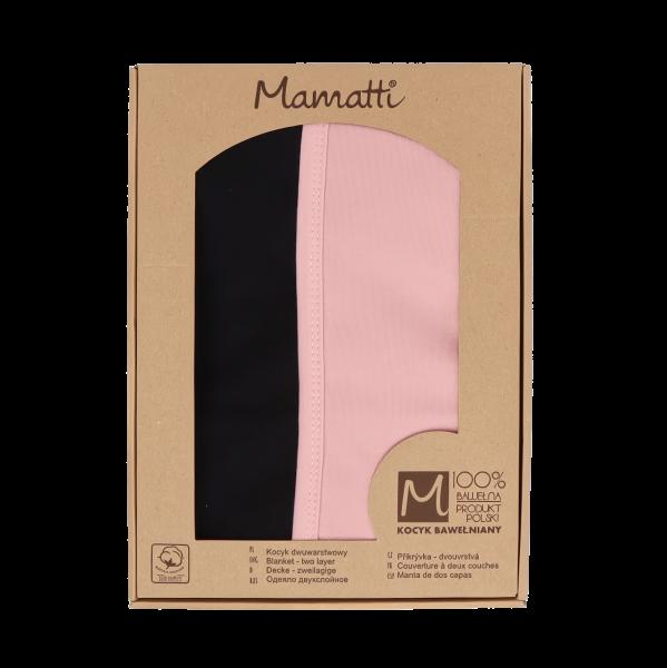 Mamatti Dětská oboustranná bavl. deka, Mašle - 80 x 90 cm, v dárk. krabičce, pudrová-černá