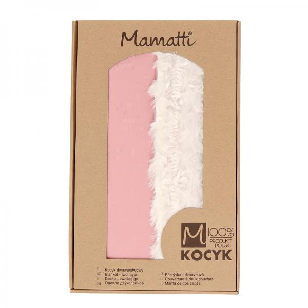Mamatti Dětská oboustranná bavlněná deka s minky, Mašle - 75 x 90 cm, pudrová-ecru