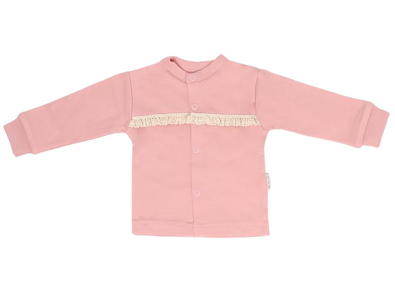 Mamatti Novozenecká bavlněná košilka, kabátek s krajkou, Mašle - pudrová, vel. 62