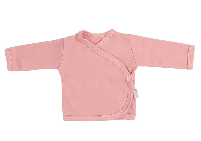 Mamatti Novozenecká bavlněná košilka zapínání bokem, Mašle - pudrová, vel. 62, Velikost: 62 (2-3m)