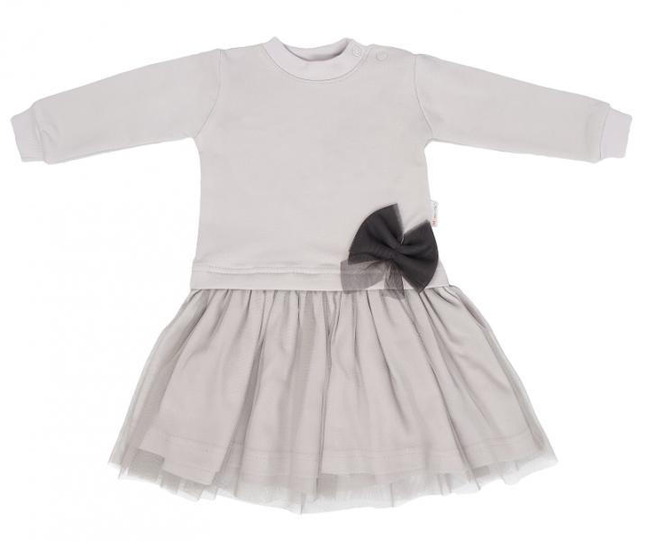 Mamatti Dětské šaty s týlem Louka - šedé, vel. 86