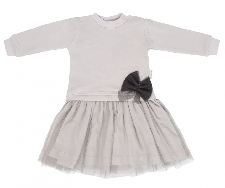 Mamatti Dětské šaty s týlem Louka - šedé, vel. 92